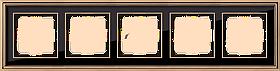 Рамка на 5 постов /WL17-Frame-05 (золото/черный)