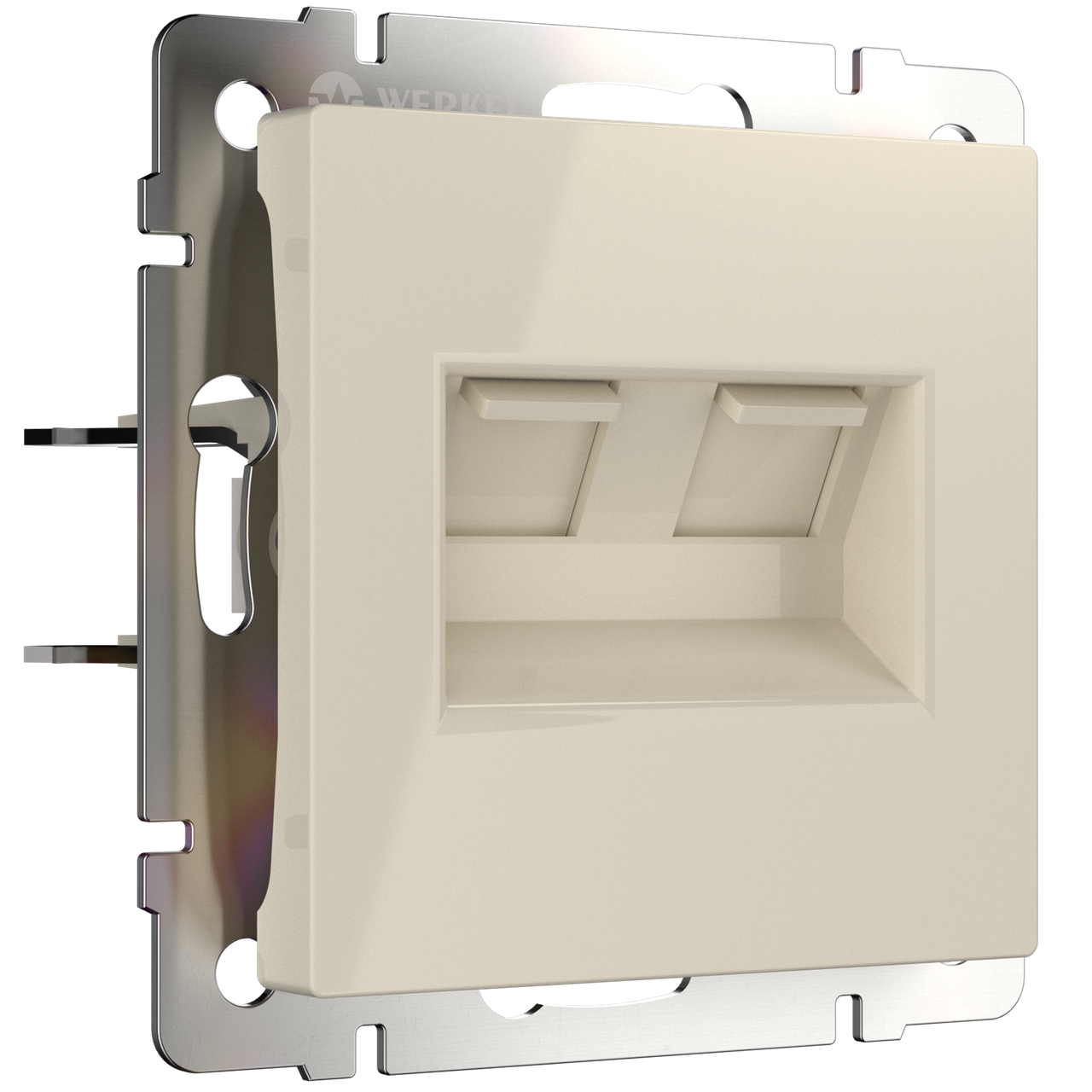 Розетка телефонная RJ-11 и Ethernet RJ-45 /WL04-RJ11-45-white (белая)