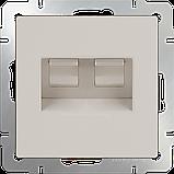 Розетка телефонная RJ-11 и Ethernet RJ-45 /WL04-RJ11-45-white (белая), фото 2