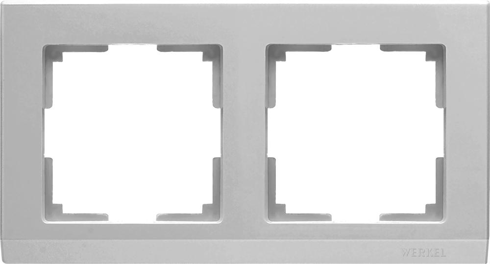 Рамка на 2 поста /WL09-Frame-02 (серебряный)