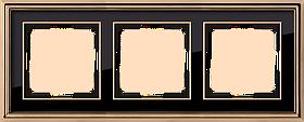 Рамка на 3 поста /WL17-Frame-03 (золото/черный)