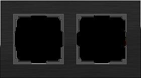 Рамка на 2 поста /WL11-Frame-02 (черный алюминий)