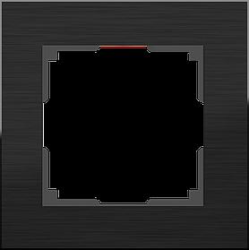 Рамка на 1 пост /WL11-Frame-01 (черный алюминий)