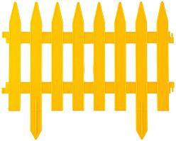 Забор декоративный GRINDA, 28x300см, желтый