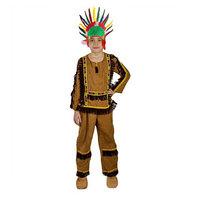 Карнавальный костюм 'Индеец', штаны, рубашка, лента с пером, р. 34, рост 134 см
