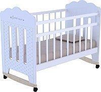 Детская кроватка ВДК  Bonne колесо-качалка и маятник (белый)