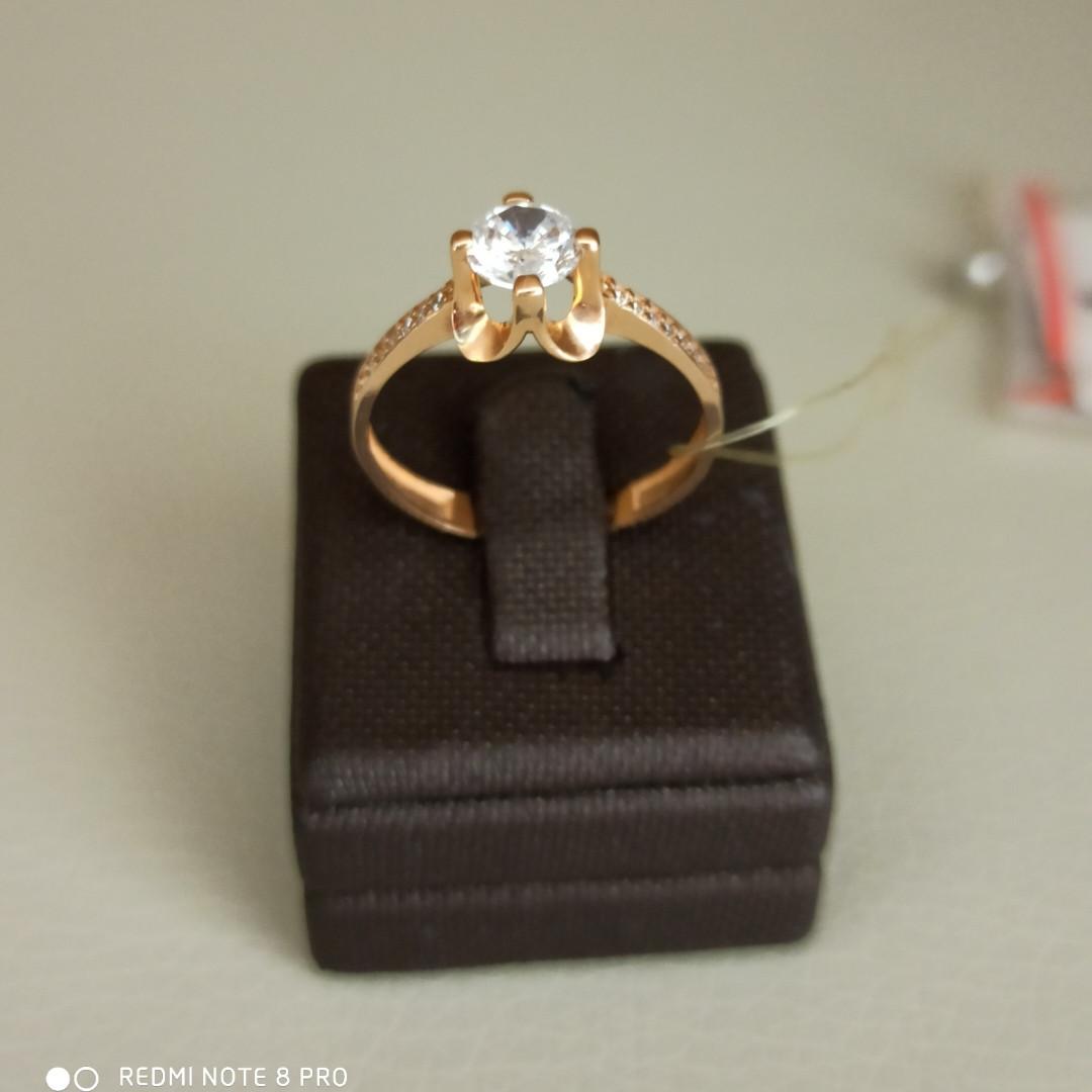 Золотое кольцо / фианит / 18,5 размер