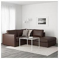 ВИМЛЕ 3-местный угловой диван, с открытым торцом, Фарста темно-коричневый, с открытым торцом/Фарста темно-кори