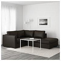 ВИМЛЕ 3-местный угловой диван, с открытым торцом, Фарста черный, с открытым торцом/Фарста черный