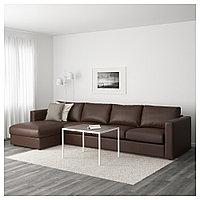 ВИМЛЕ 4-местный диван, с козеткой, Фарста темно-коричневый, с козеткой/Фарста темно-коричневый, фото 1