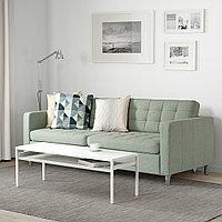 ЛАНДСКРУНА 3-местный диван-кровать, Гуннаред светло-зеленый/металл, фото 1