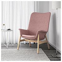ВЕДБУ Кресло c высокой спинкой, Гуннаред светлый коричнево-розовый, Гуннаред светлый коричнево-розовый, фото 1