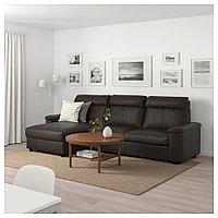 ЛИДГУЛЬТ 3-местный диван-кровать, с козеткой, Гранн/Бумстад темно-коричневый, фото 1