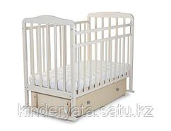 Кровать детская СКВ Митенька с ящиком и маятником береза снежная