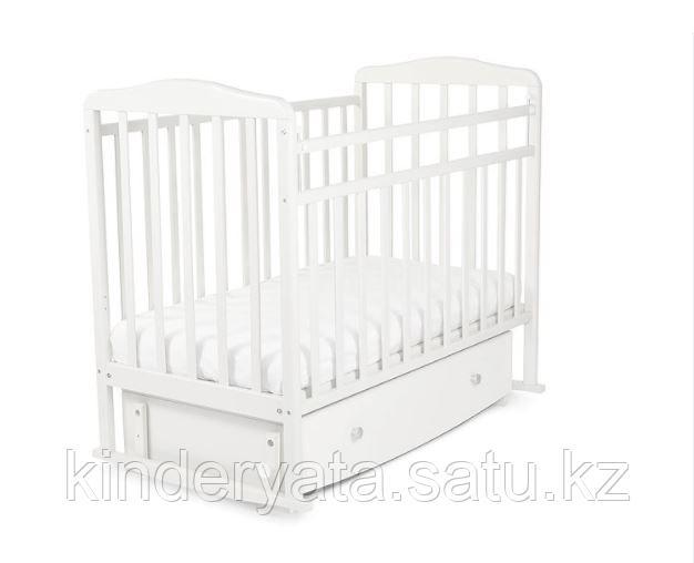 Кровать детская СКВ Митенька New с ящиком и маятником, Белый