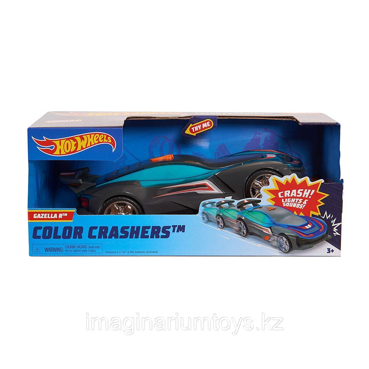 Машинка Hot Wheels Race N Crash 20 см меняющая свет, новинка