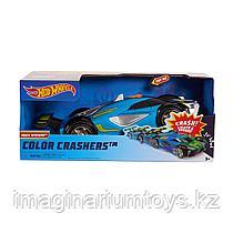 Машинка Hot Wheels Race N Crash 20 см со звуковыми и световыми эффектами сине-зеленая