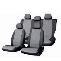 Чехлы сиденья Opel Astra H, седан/хэтчбек 2004-2014, без подлокотника Жаккард 12 предметов Skyway Черный/Серый