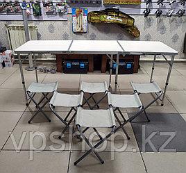 Складной стол для пикника туристический 180х60 с 6 стульями в комплекте, доставка