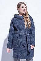 Пальто демисезонное, твид, 40-48, сине-белое, кэжуал