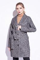 Пальто демисезонное, твид, 44-48, коричнево-серое, классика