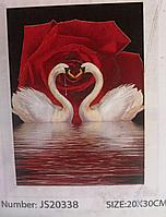 Картина из алмазов лебеди, 3D, 20 на 30 см.