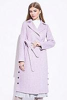 Пальто демисезонное, ворсовая ткань, 44-52, лиловое, прямое