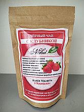 Чай черный  листовой с клубникой . NEHA .Black leaf tea with strawberries.100гр. Индия