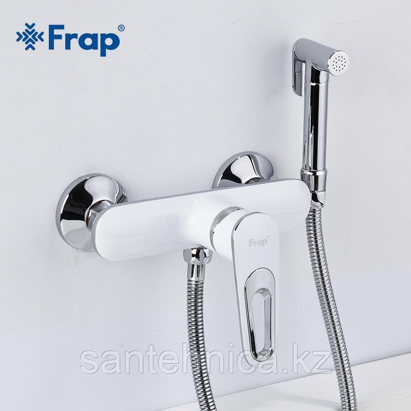 Смеситель с гигиеническим душем Frap F2049 белый