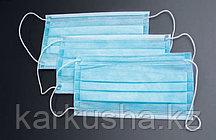 Маска медицинская трехслойная, цвет голубой