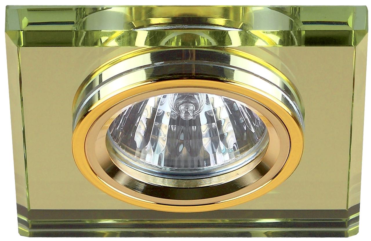 Светильник DK 8 GD/YL ЭРА декор стекло квадрат MR16, 12V/220V, 50W, золото/зеркальный желтый