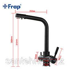 Смеситель для кухни с питьевым каналом черный Frap F4352-7, фото 2