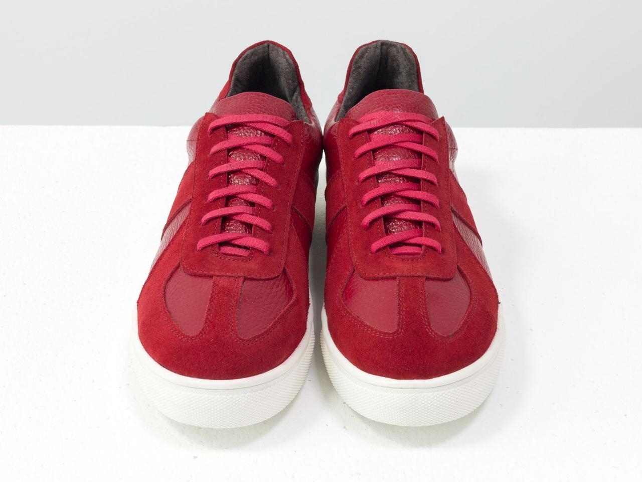 Стильные Кеды-Феррари из натуральной замши и кожи ярко-красного цвета, на прорезиненной подошве белого цвета 40 - фото 6