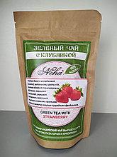 Чай зеленый  листовой с клубникой . NEHA .Green  leaf tea with strawberries.100гр. Индия