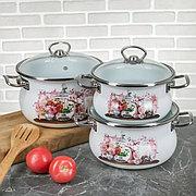 """Набор эмалированной посуды из 3-х кастрюль,(1,5 л, 2,5 л, 3,5 л) i1000 """"Эльзас"""" I1000эльзас"""