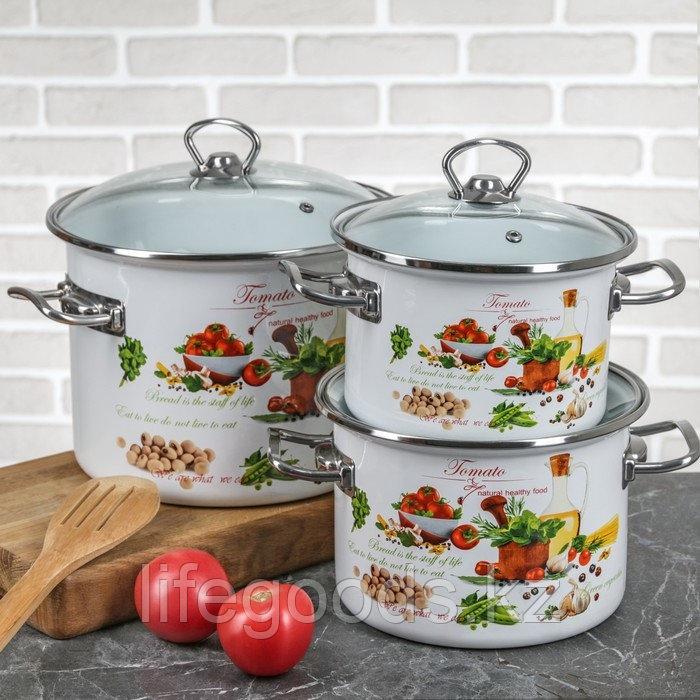 """Набор эмалированной посуды из 3-х кастрюль, (2 л, 3 л, 5,5 л) i1500 """"Томато"""""""
