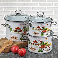 """Набор эмалированной посуды из 3-х кастрюль, (2 л, 3 л, 5,5 л) i1500 """"Томато"""" I1500томато"""