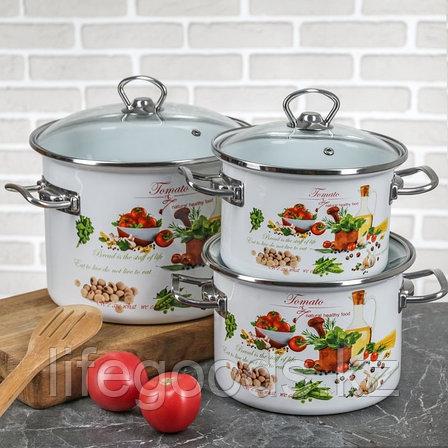 """Набор эмалированной посуды из 3-х кастрюль, (2 л, 3 л, 5,5 л) i1500 """"Томато"""", фото 2"""