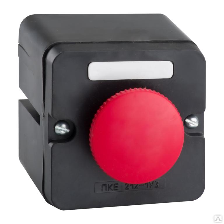 Кнопка ПКЕ-212 1 У3 красн.грибок с фиксацией кнопки в корпусе