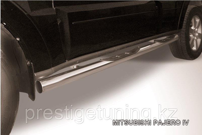 Защита порогов d76 с проступями Mitsubishi Pajero IV