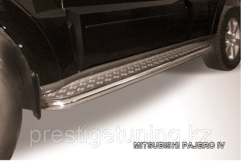 Защита порогов d57 с листом Mitsubishi Pajero IV