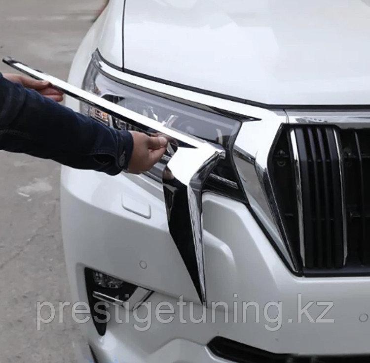 Хром ресничка на фару Land Cruiser Prado 150 2018-
