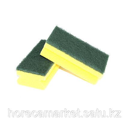 Губка для мытья посуды зеленая 7х14 (10 шт), фото 2