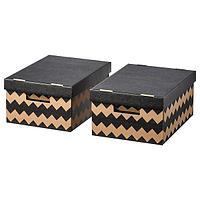 ПИНГЛА Коробка с крышкой, черный, естественный, 2шт, черный/естественный 28x37x18 см