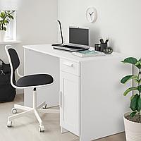 БРИМНЭС Письменный стол, белый, белый 120x65 см, фото 1