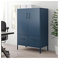 ИДОСЕН Шкаф с дверцами и ящиками, синий, 80x47x119 см