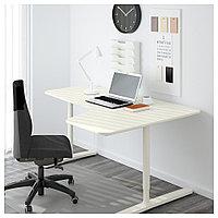 БЕКАНТ Углов письм стол правый, белый, белый 160x110 см