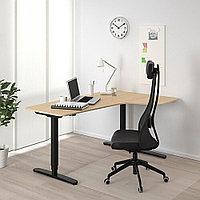 БЕКАНТ Углов письм стол прав/трансф, дубовый шпон, беленый черный, дубовый шпон, беленый черный 160x110 см, фото 1