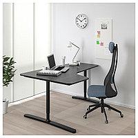 БЕКАНТ Углов письм стол левый, ясеневый шпон/черная морилка, черный, ясеневый шпон/черная морилка/черный 160x1