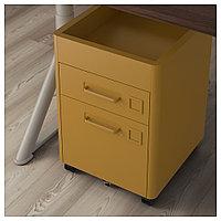 ИДОСЕН Тумба с ящиками на колесах, золотисто-коричневый, золотисто-коричневый 42x61 см